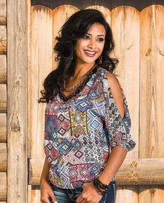 1ac6c5913b5a2c Cowgirl Up Multi-Color Southwest Diamond Print Cold-Shoulder Blouse - Ladies  Tops - Ladies - New 2015. Drysdales Western Wear