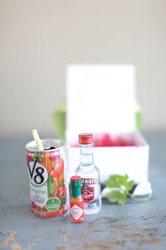 Adorable mini Bloody Mary kit for Vegas wedding welcome bags (Love the teensy tiny Tabasco!)