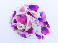 Pink flowers silk scarf, Foulard silk scarf,Long silk scarf,Handpainted silk scarf,White silk scarf,Scarf for her,Easter gift,Silk scarf Summer Scarves, White Silk, Easter Gift, Silk Painting, Pink Flowers, Hand Painted, Handmade, Gifts, Etsy
