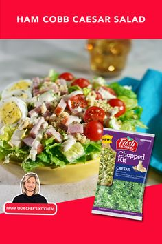 Got some leftover Easter ham and colored eggs? We've got a perfect recipe for you - Cobb Caesar salad. With just 4 ingredients it's a snap to make! Colored Eggs, Easter Ham, Fruit In Season, Caesar Salad, 4 Ingredients, Cherry Tomatoes, Stew, Salads, Fresh