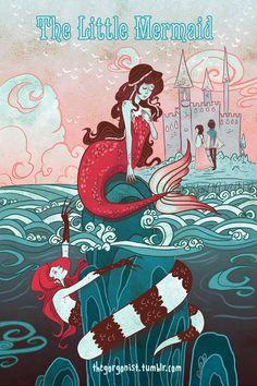 Kleine zeemeermin literaire 12 x 18 inch-poster