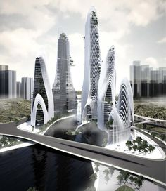 Designed by the Chinese based firm, MAD architects, The 'Shan-Shui City' concept dates back to ancient times of the mountain-water worship, of locating cities by observing the earth and examining the water, and the emperors' locating cities on the strategic place of the surrounding natural environment for defense.