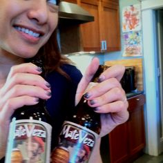 MateVeza caffeinated beer is organic, full-bodied and massively fun! Gina Pell modeling our pair here!