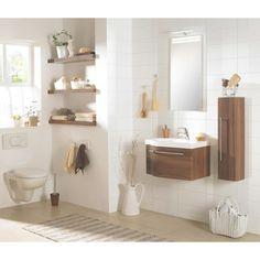 Edles Badezimmer in Nussbaumfarben: kompakt & elegant