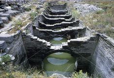 Remains of an Ancient Greek water course on the island of Delos. Delos Greece, Ionic Order, Water Management, Archaeological Site, Ancient Greek, Heritage Image, Places Ive Been, Rome, Places To Visit