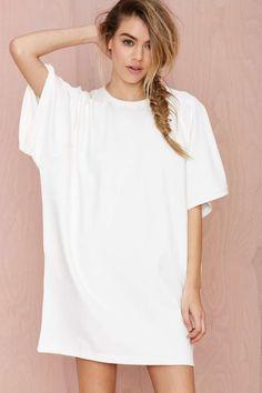 BLQ Basiq Loose It Tee Dress - White | Shop Dresses at Nasty Gal