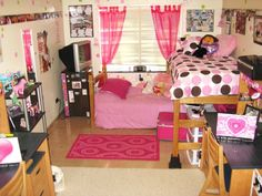 SUNY Geneseos cutest dorm room!, My roommate and I LOVE pink! We incorporated pink with our other must haves such as pictures and collages.  We put up wall stickies that we scattered around the room that are pink and green polka dots (in different size circles) which go great with my polka dot bedspread. We also have up pink curtains and a pink string of lights to frame the window.  We put my bed on risers and placed the beds in an L shape to maximize our space. , Dorm Rooms Design