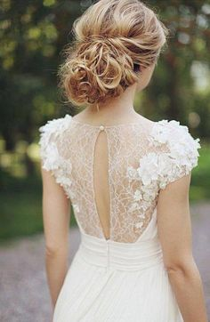Lace wedding dresses beach wedding dresses,every bride will love it Found on: http://yesmissy.com/wedding-dress-inspiration-illusion-neckline/