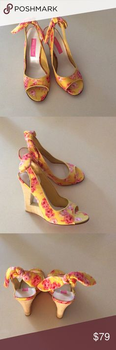 Betsey Johnson Floral Wedges Yellow canvas floral wedges size 6. Perfect for Spring or Summer. Brand new no box. Betsey Johnson Shoes Wedges