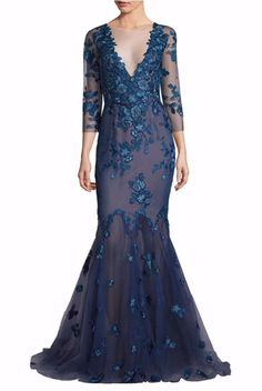 Marchesa Notte Embroidered Floral Blue Mermaid Gown sheer sleeves