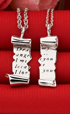 d650b832e4 Matching Couples Necklaces, Split Love Letter Gifts, Sterling Silver, Black  Engraved / Personalized. iDream Jewelry