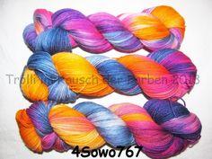 Handgesponnen & -gefärbt - Sockenwolle 4-fach Merino 420m Nr. 767 handgefärbt - ein Designerstück von Trollkoenigin bei DaWanda ->http://de.dawanda.com/shop/Trollkoenigin