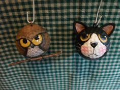 Owl & pussy cat golf ball ornaments
