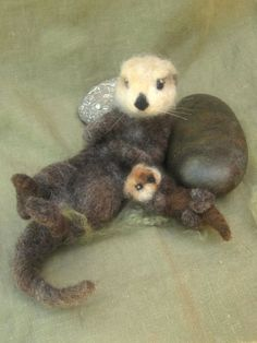 Sea otters needle felted by Ainigmati