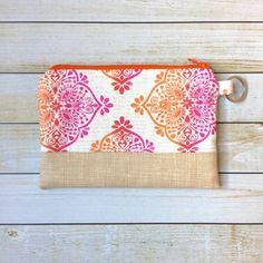 Orange Hot Pink Print Coin Purse Zipper Pouch by LittleMissPoBean