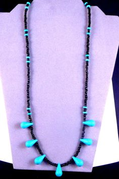 Beautiful Black and Teardrop Turquoise Necklace