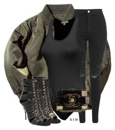 """""""Untitled #3209"""" by kimberlythestylist ❤ liked on Polyvore featuring Topshop, Balmain and Chanel"""