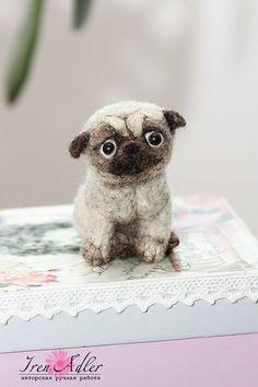Pug puppy miniature felt figirine,  dog pug needle felted miniature, pug pet portrait