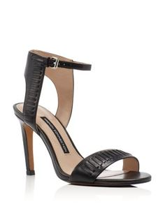 French Connection's open-toe sandals straddle the line between boho and edgy in a sleek ankle-strap design detailed with monochrome whipstitching. | Leather upper, synthetic lining, synthetic sole | I
