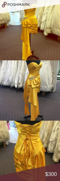 Yellow dress Sweetheart neckline, side chunky beading , gathered throughout gown, high quality satin Dresses High Low