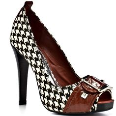 Houndstooth Pony Hair and Red Patent Peep Toe In The Park Pumps