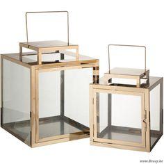 J-Line Set van 2 vierkante lantaarns roestvrij staal goud h26 - Kaarsen en Houders - BCosy Webshop Boutique Web Vente en Ligne