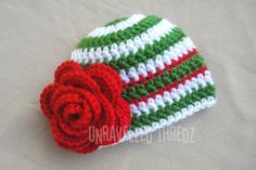 Need this for Christmas!!  Christmas Baby Hat Christmas Newborn Hat by UnravelledThredz, $18.00