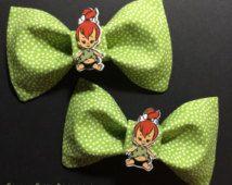 Pebbles Flintstones Polka Dot Hair Bow by Creepy Cute Bootique