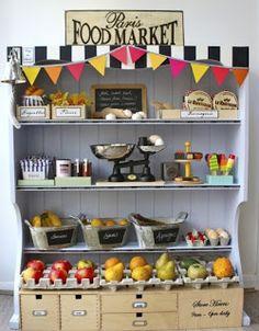 cute hutch food display.. For you stuffed handmade fruits and veggies