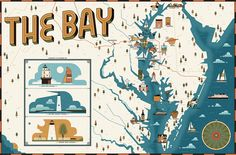 We created an illustrated map of the Chesapeake Bay area for Washingtonian magazine, highlighting various towns and landmarks.