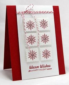 handmade Christmas card ... red and white ... snowflakes on raised inchies ...