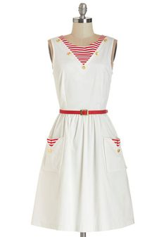 I'm On a Paddle Boat Dress. Enjoy a paddle boat cruise in this appropriately nautical dress by Bea  Dot - a ModCloth exclusive! #whiteNaN