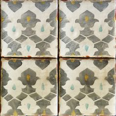 Ethnic chic, hand-painted tiles for floor or wall interior applications.