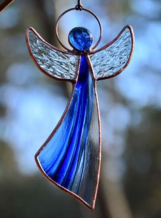 One-of-a-kind gift, stained glass angel suncatcher, angel gift, Tiffany glass angel, angel ornaments, guardian angel, blue Wedding gift, Happy Birthday gift * Thank you for visiting our shop. Here you can find an original, interesting and cute gift for your family, relatives or friends.