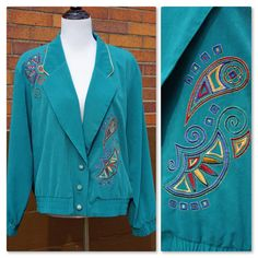 80s Turquoise Embroidered Blazer, Shoulder Pads, Geometric Designs, loose fitting elastic at sleeves and waist by Have2Shop on Etsy