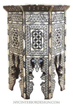 Moroccan bone inlay table