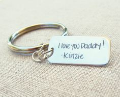 Fathers Day Keychain Personalized Handwriting Mens Keychain Father Gift Silver Personalized Key Ring Handwritten Gift by emilyjdesign Father Gift, Fathers Day Gifts, Handwriting Samples, Memorial Jewelry, Silver Charms, Key Rings, Personalized Jewelry, Gifts For Dad, Family Gifts