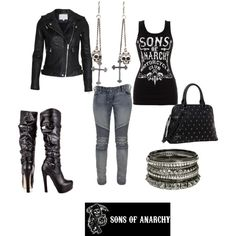 """SOA outfit"" by adjani-loaiza on Polyvore - with my recent obsession with sons of anarchy, i must say.... this outfit is gemma -__- 100% gemma!"