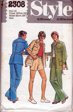 70s Vintage Mens Safari Suit Pattern Style by allthepreciousthings,