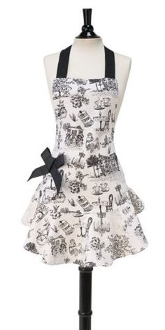 Cafe Toile Bib Josephine Apron by Jessie Steele designers apron Aprons For Sale, Aprons For Men, Cafe Apron, Apron Designs, Retro Apron, Linen Apron, Sewing Aprons, Apron Pockets, Kids Apron
