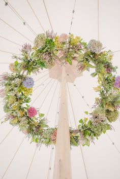 Flower Chandelier - Sperry Tent by Papakata For A Coastal Wedding In The North East With Bride In Lusan Mandongus With Images by Georgina Harrison Easter Wedding Ideas, Wedding Themes, Wedding Styles, Wedding Decorations, Wedding Receptions, Wedding Blog, Wedding Planner, Marquee Wedding, Tent Wedding