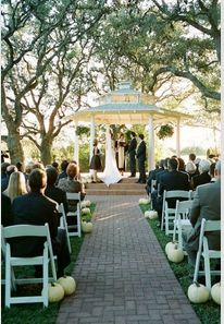 October Wedding Idea-Lining aisle with ghost pumpkins!