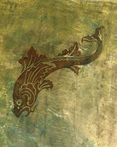 """This stenciled fish """"swims"""" on a plaster wall created by Weston Design."""