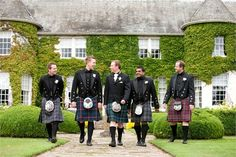 These are Prince Charlies. As you can see they look much more formal and traditional. But what i love is the Mismatched kilts. Meaning you could have a number of Tartans which could bring your colours together. Wedding Fun, Wedding Stuff, Wedding Ideas, Groom Outfit, Kilts, Wedding Pictures, Groomsmen, Bride Groom, Tartan