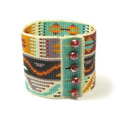 Tribal Bead Looming Bracelet Kit by Ann Benson. Recommended for Anns No-finishing bracelet loom, but this design can be made on other looms requiring warp finishing. The design features motifs from North-African tribal weaving patterns, adapted for seed beads and can be made up to 8.5 long with its Beading Patterns Free, Bead Loom Patterns, Weaving Patterns, Craft Patterns, Jewelry Patterns, Beading Ideas, Beading Needles, Loom Beading, Bracelets Design
