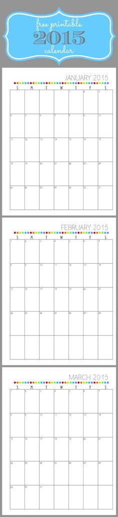 Use this free printable 2015 calendar to get organized! It fits perfectly in a three ring binder.