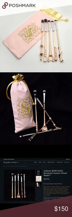 NWT Limited Edition HP inspo Wizard Wand Brush Set Brand New, authentic Rose Gold Storybook Cosmetics Wizard Wands brush set! Limited edition rose gold eyeshadow 5-piece brush set with cruelty-free synthetic bristles and metal alloy handles. Comes with a custom pink and gold velvet wand pouch for safe keeping! Brand New! Never been out of the pouch! Brushes are absolutely G O R G E O U S! Super limited edition! Sold out on the website! No trades please. image of open brushes are from my…