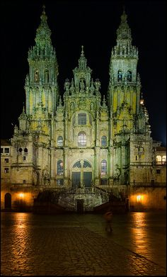 Night view of the Santiago de Compostela Cathedral. The lichen on the baroque facade stands out even with few light, via Christiane Cornet Baroque Architecture, Religious Architecture, Amazing Architecture, El Camino Pilgrimage, Places Around The World, Around The Worlds, Places In Spain, Cathedral Church, Spain And Portugal