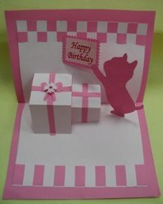 Make a pink-kitty pop-up birthday card!