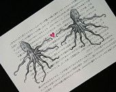 Octopus Print on Vintage Japanese Book Page - 5 x 7 Octopi Love Print
